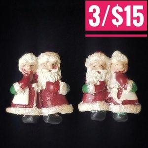 Vintage Mr. & Mrs. Santa Claus Clip Earrings
